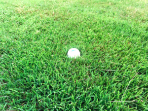 Don't try to get backspin when the ball is in the semi rough like this