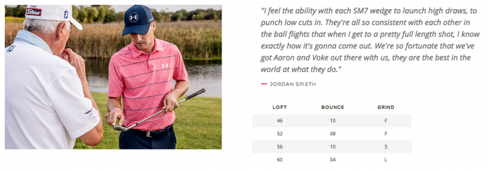 Jordan Speith has 4 vokey wedges in his bag on tour